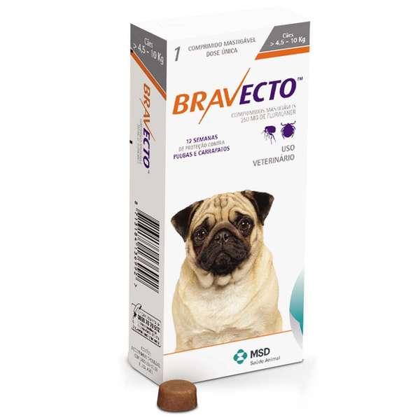 Anti Pulgas e Carrapatos Bravecto para Cães de 4,5 a 10 kg - 250 mg