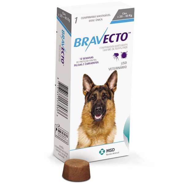 Anti Pulgas e Carrapatos Bravecto para Cães de 20 a 40 kg - 1000 mg