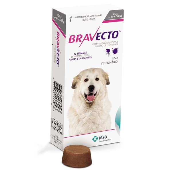 Anti Pulgas e Carrapatos Bravecto para Cães de 40 a 56 kg - 1400 mg