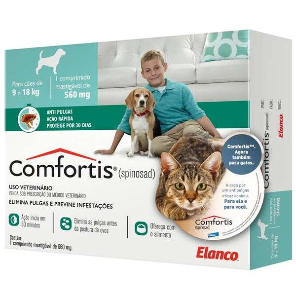 Anti Pulgas Elanco Comfortis 560 mg para Cães de 9 a 18 Kg e Gatos de 5,5 a 11 Kg
