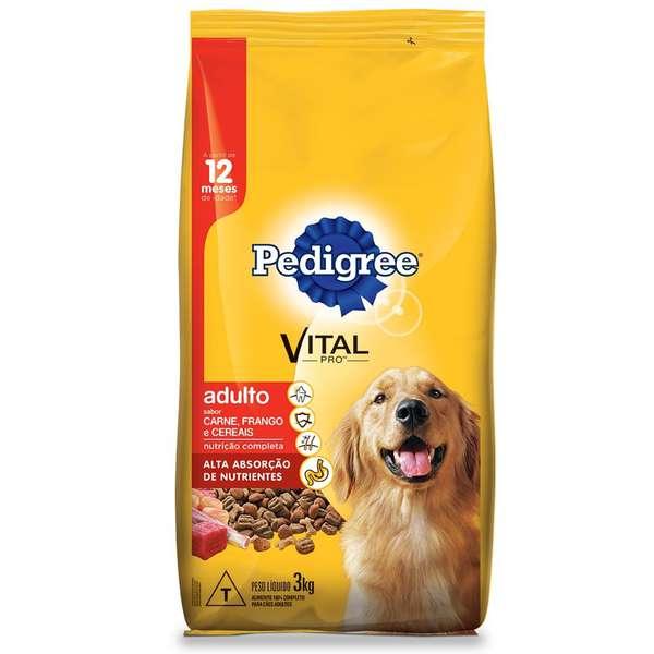 Ração Pedigree Carne, Frango e Cereais para Cães Adultos a partir de 12 Meses de Idade