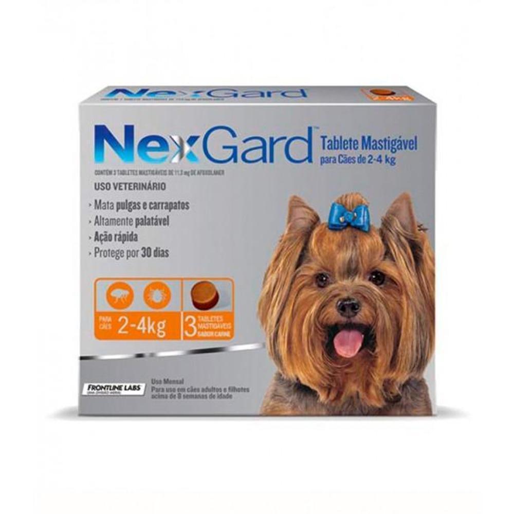 Anti Pulgas e Carrapatos Merial NexGard 11,3 mg para Cães de 2 a 4 Kg 3 Tabletes