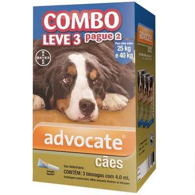 Anti Pulgas Combo Advocate Bayer para Cães de 25kg a 40kg - 4,0ml