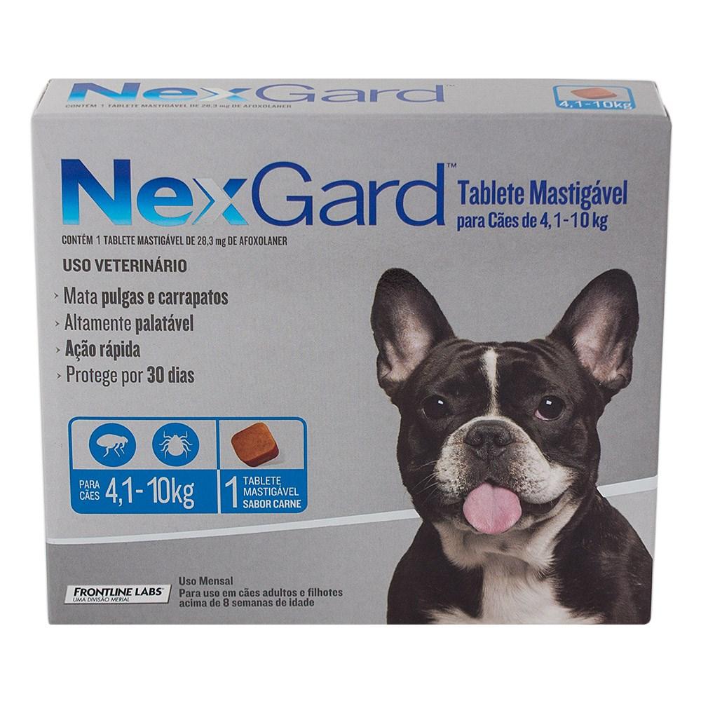 Anti Pulgas e Carrapatos Merial NexGard 28,3 mg para Cães de 4,1 a 10 Kg