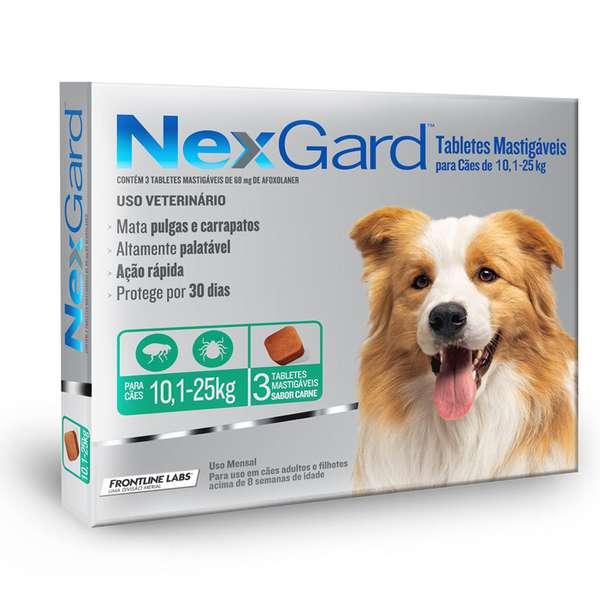 Anti Pulgas e Carrapatos Merial NexGard 68 mg para Cães de 10,1 a 25 Kg 3 Tabletes