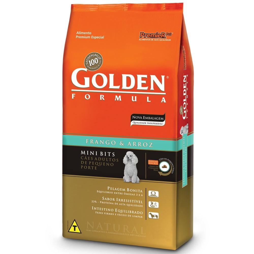Ração  Golden Formula Cães Adultos Frango e Arroz Mini Bits