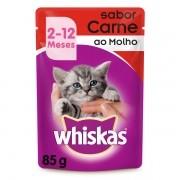 Ração Whiskas Sachê Carne para Gatos Filhotes