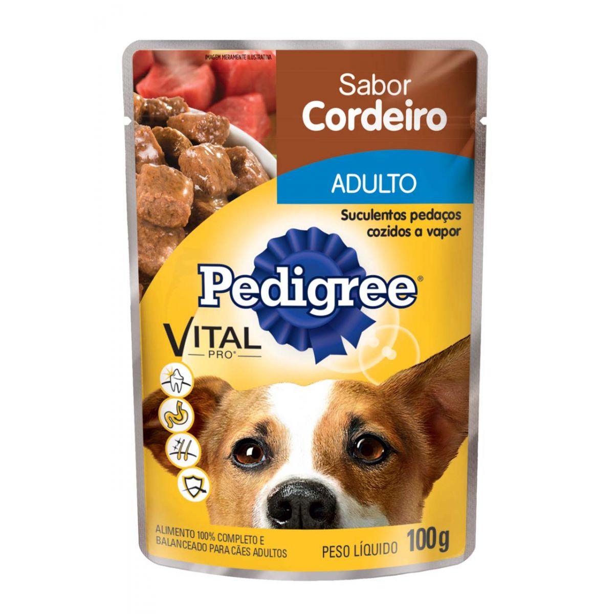 Ração Pedigree Sachê Cordeiro ao Molho para Cães Adultos 100g