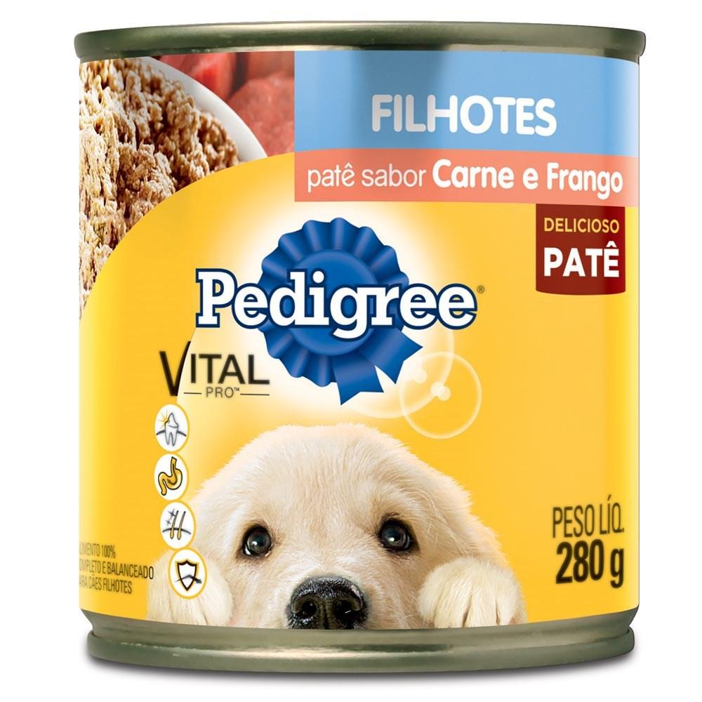 Ração Pedigree Lata Patê de Carne e Frango para Cães Filhotes - 280gr
