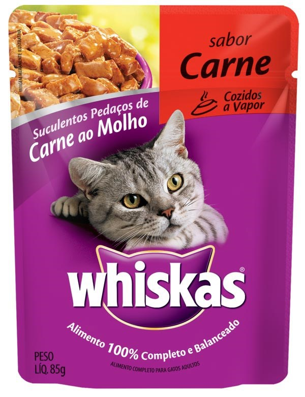 Ração Whiskas Sachê Carne para Gatos Adultos