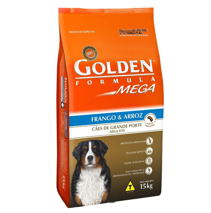 Ração Golden Mega para Cães Adultos de Raças Grandes Sabor Frango e Arroz