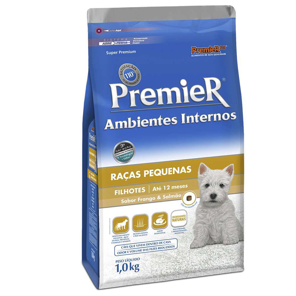 Ração Premier Pet Ambientes Internos Cães Filhotes Frango e Salmão