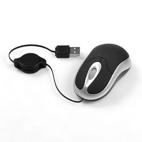 Mini Mouse Óptico Usb Cabo Retrátil Notebook