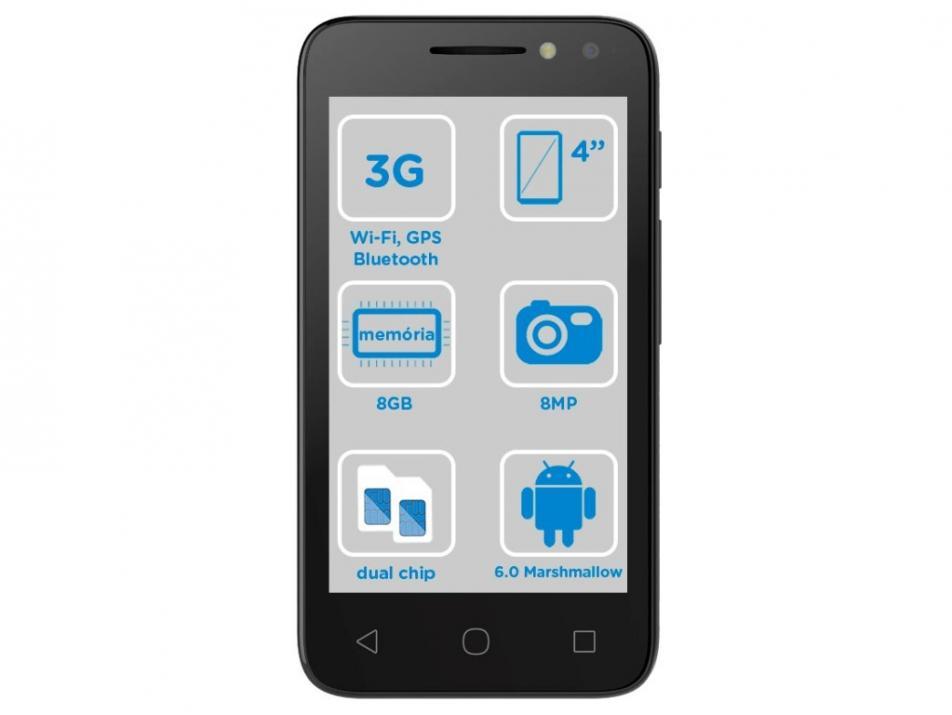 Smartphone Alcatel PIXI4 4 Colors 8GB Dual Chip 3G - Câm 8MP + Selfie 5MP Flash Tela 4