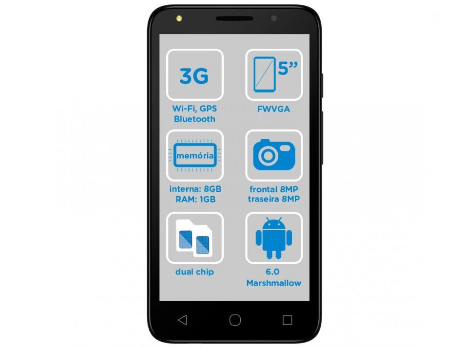Smartphone Alcatel PIXI4 5 Colors 16GB Preto - Dual Chip 3G Câm. 8MP + Selfie 8MP Tv Digital