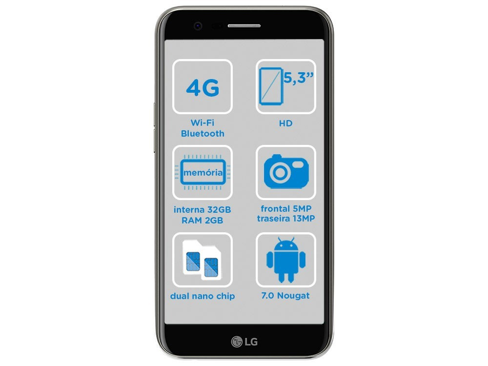 Smartphone LG K10 Novo 32GB Titânio Dual Chip 4G - Câm. 13MP + Selfie 5MP Tela 5.3