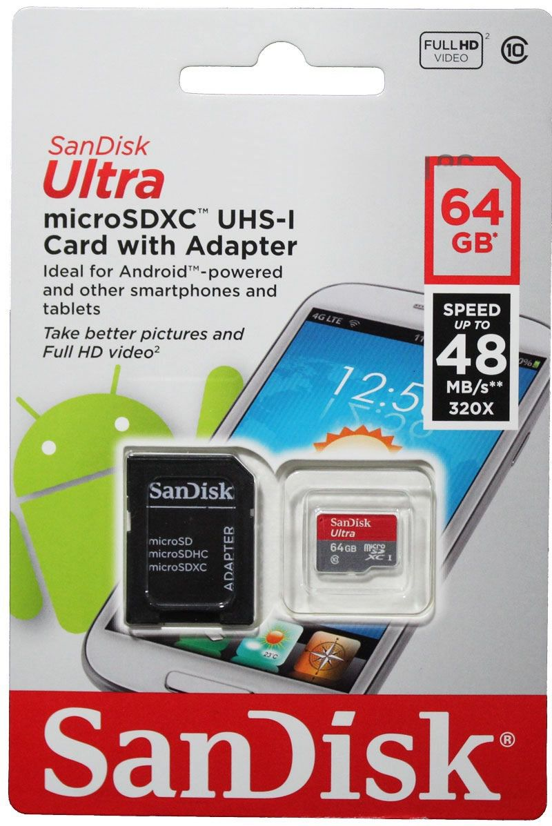 Cartão Sandisk Ultra 100mb/s 64GB Micro SD Lacrado + Adptador