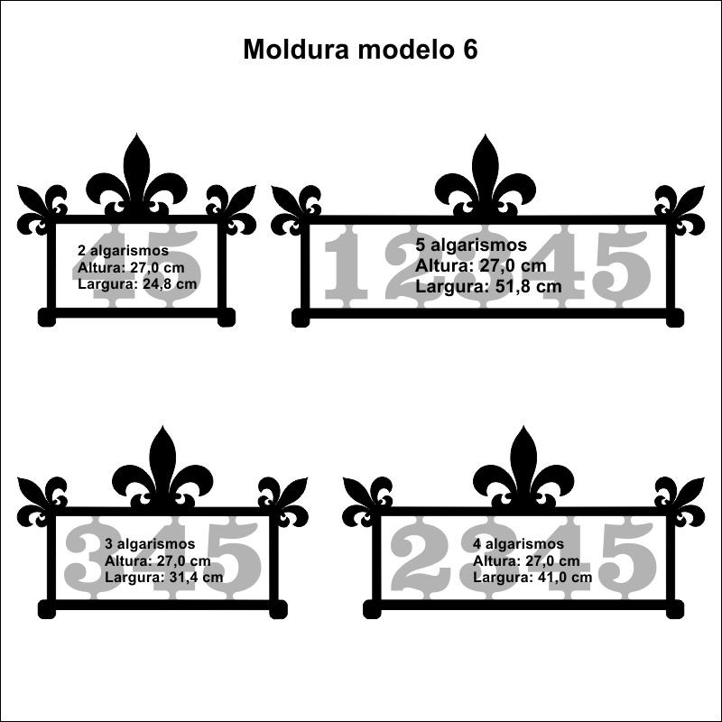 Número Residencial Casa Comercio Moldura 2 Algarismos