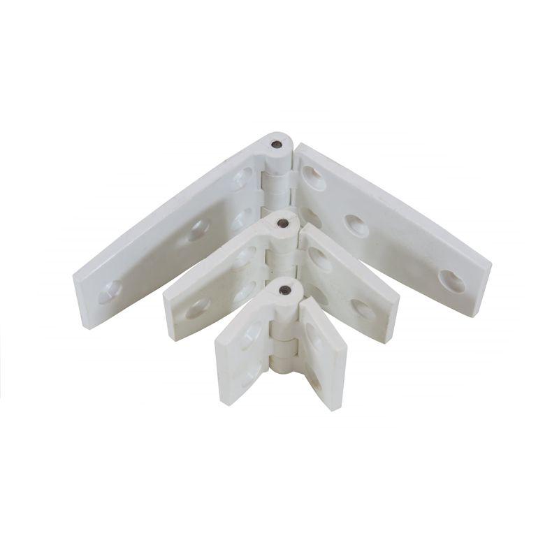 Dobradiças de nylon reforçado com fibra de vidro e anti-UV com pino central de aço inox.
