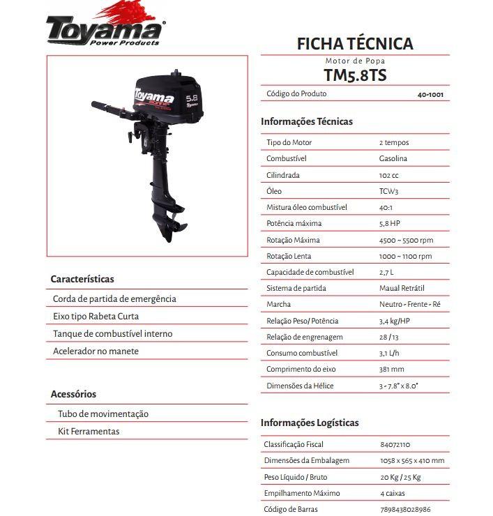 MOTOR DE POPA TOYAMA 5.8 HP 2T