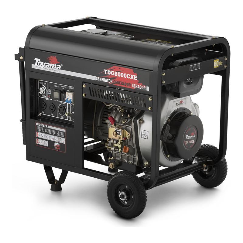 Gerador de energia a Diesel Monofásico 6,5 KVA com tomada para ATS - Partida Elétrica - TDG8000CXE - Toyama