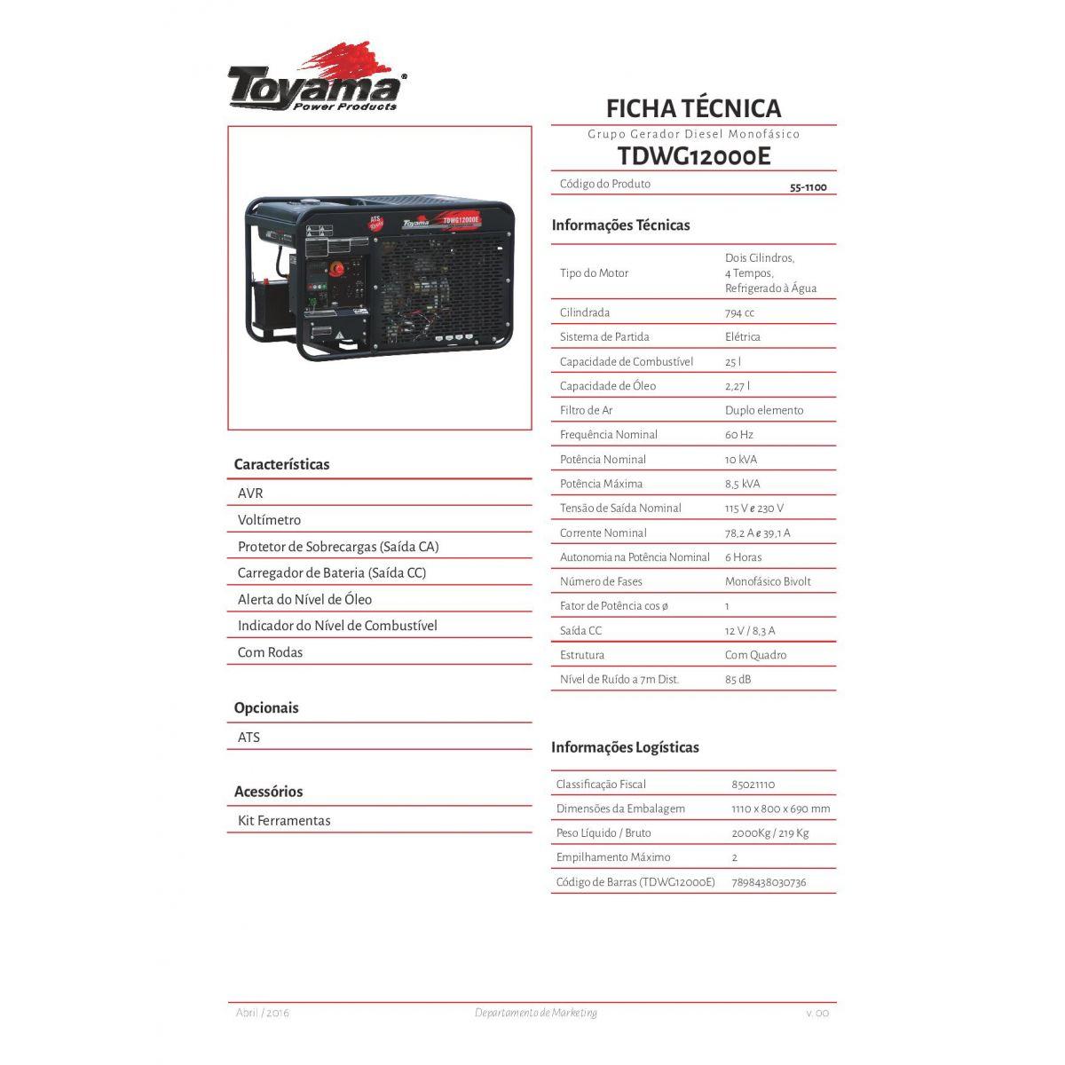 Gerador de energia a Diesel Monofásico 11.5 KVA - Refrigerado a Água - Partida Elétrica - TDWG12000E - Toyama