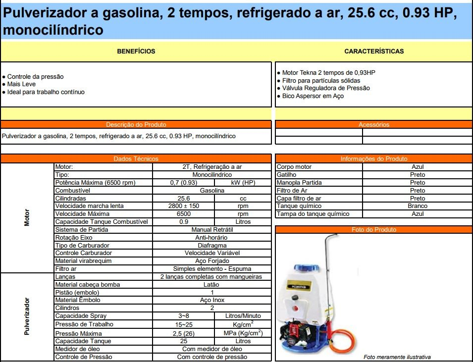 PULVERIZADOR COSTAL TEKNA PC260DL GAS 25.4CC