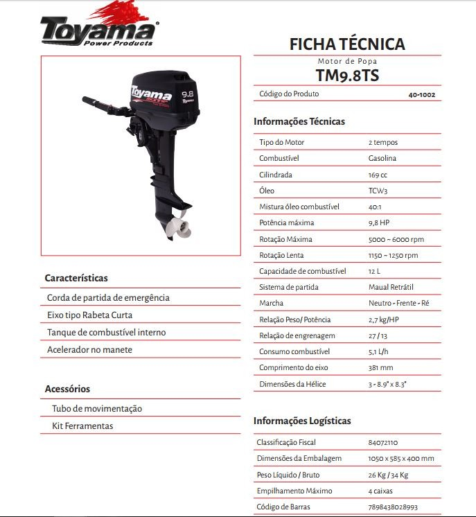 MOTOR DE POPA TOYAMA 9.8 HP 2 T