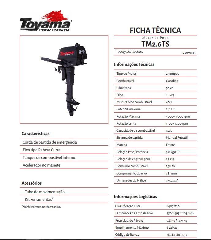 MOTOR DE POPA TOYAMA 2.6 HP 2 T
