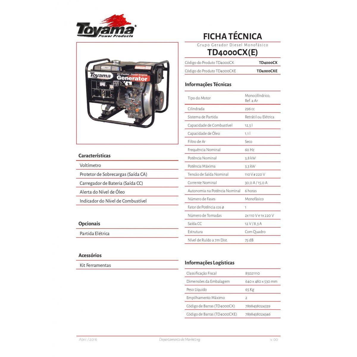 Gerador de energia a Diesel Monofásico 3,8 KVA - Partida Manual - TD4000CX - Toyama