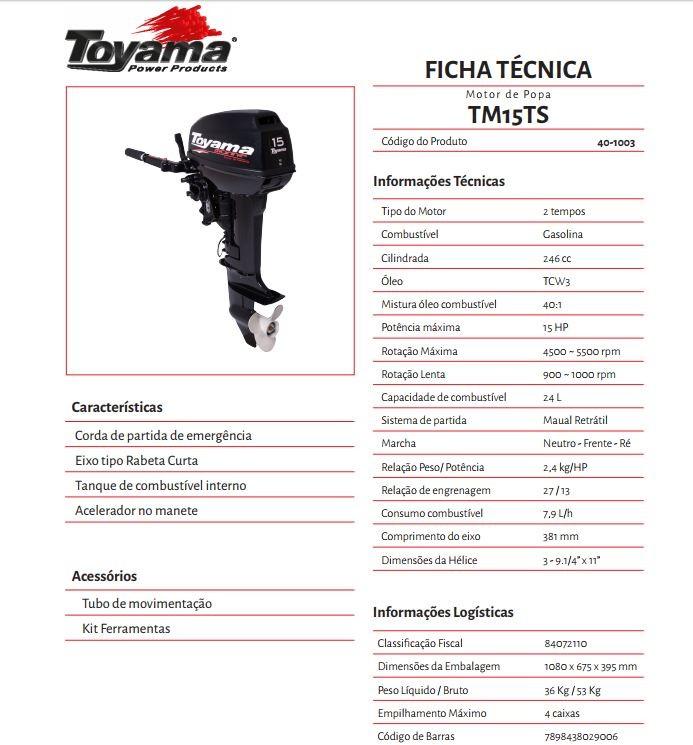 MOTOR DE POPA TOYAMA 15.0 HP 2 T