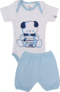 Conjunto Body Manga Curta Com Shorts Suedine