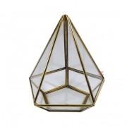 Terrário Pirâmide Dourado Pentagonal G