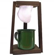 Coador de Café Madeira C/ Caneca Verde 180 ml