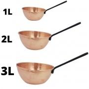 kit Caçarola De Cobre com cabo Preto P,M,G