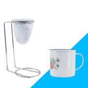 Kit Mini Coador de Café Com Caneca Branca Estampada 150 ml