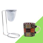 Kit Mini Coador de Café Com Caneca Cerâmica Marrom 180 ml