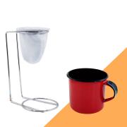 Kit Mini Coador de Café Com Caneca Vermelha