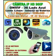 C�mera Ip Onvif 2.0 Hd Ir Bullet 1.3mp 3,6mm 960p 40m 36 Leds Azul 1280*960 2.0 H264