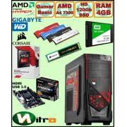 Computador - PC Gamer Basic Amd Apu A4 7300 4ghz Radeon Hd8470d 4gb + Hd SSD + Acessorios