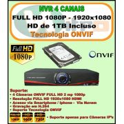 Nvr 4 Canais Full HD 1080P ONVIF 1920x1080 + HD 1 TB Incluso