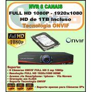 Nvr 8 Canais Full HD 1080P ONVIF 1920x1080 + HD 1 TB Incluso