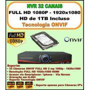 Nvr 32 Canais Full HD 1080P ONVIF 1920x1080 + HD 1 TB Incluso