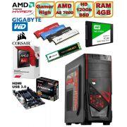 Computador - PC Gamer High Amd Apu A8 7600 3.1GHz (Turbo 3.8) Radeon Hd8470d 4gb + Hd SSD + Acessorios
