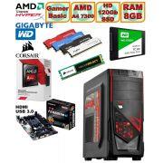 Computador - PC Gamer Basic Amd Apu A4 7300 4ghz Radeon Hd8470d 8gb + Hd SSD + Acessorios