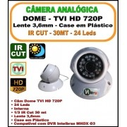 Camera Analógica Dome HDTVI 1mp 720p 3,6mm 24 Leds 1/3 IR Cut 30 mt