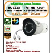 Camera Analógica Bullet HDTVI 1mp 720p 3,6mm 30 Leds 1/3 IR Cut 30 mt
