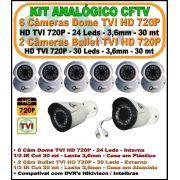 Kit Cameras Analógicas HDTVI 6 Cameras Domes 720P 2 Cameras Bullet 720p