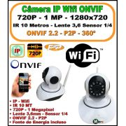 Câmera IP Wifi 360 HD 720p 1 Megapixel Lente 3,6mm Sensor 1/4