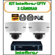 Kit Intelbras DVR 4 Canais Mult HD 1004 G3 5 em 1 + 2 Câmeras IP Dome 960P 1.3 Megapixels Varifocal 2,8 à 12mm IP 66 IK10 28 LedsLente Inteligente 20 Metros